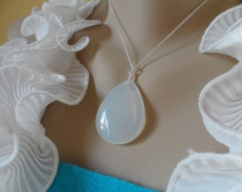 SALE - Large Opalite Quartz Necklace and Sterling Silver - Mothers Day Gifts, Birthday Gifts and Bridesmaids Gifts, Flower Girls