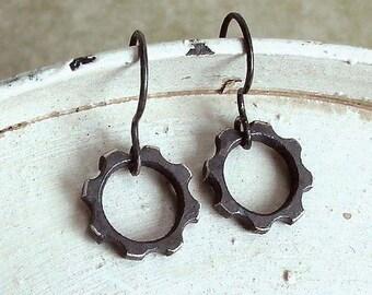 Gear Earrings - Black - Sterling Silver - Oxidized - Miniature - Industrial Chic - Rustic - Steampunk - Gear Charms - Mini Gear Earrings