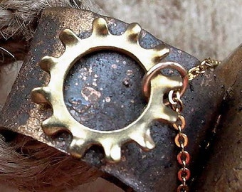 Cog Necklace - Brass - Small - Industrial Chic - Rustic - Cog Charm - Cog Jewelry - Golden - Urban - Steampunk Necklace - Charm Necklace