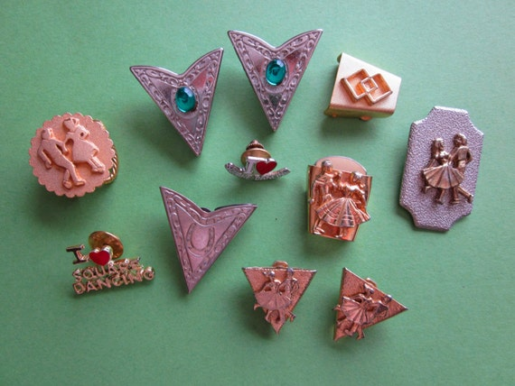 Lot of Vintage Square Dancing Accessories Pins Collar Tops Tie Slides