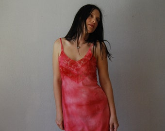 vintage 1950 BOMBSHELL slip dress /  mineral wash PIN UP lingerie