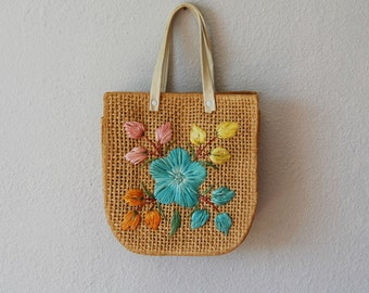 vintage BATIK  handbag / 1950s hawaii FLORAL beach bag