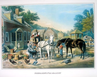 Currier and Ives Print - Preparing for Market - 1978 Large Vintage Book Page for framing