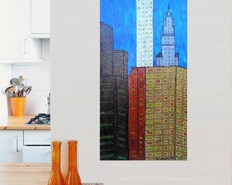 "Skyscrapers 3... original painting, 31.5x15.7"", 40 x 80 cm, acrylic, wood, building, house, city, fantasy"
