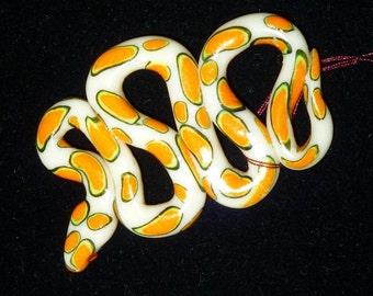 Valentine Gift Pumpkin Orange Halloween Glowing Snake Charm Pendant Glow In The Dark  Polymer Clay