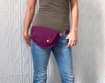 Fanny Pack, in Purple Cotton : Belt Bag, Hip Bag, Travel Bag, Waist Bag, Hands Free, Dog Walking Bag, Festival Bag, Gift for Her, Stylish