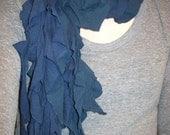 Recycled Ruffle Tshirt Scarf - navy