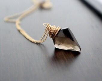 Arrowhead Necklace in Gold, Smoky Quartz Gemstone Pendant, Tribal Boho Fashion - Arrow