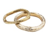 Wedding Rings in Yellow Gold  -  Organic Twig and Branch Design  -  Set of Bands - Nature Inspired - Sustainable