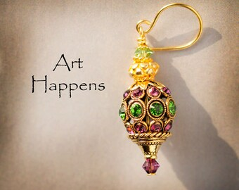 """Amethyst Purple and Peridot Green Swarovski Crystals Earrings with Golden Accents, """"Harken Spring"""""""
