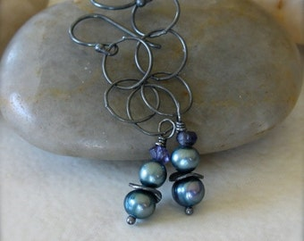 Oxidized Sterling Silver Earrings with Blue Freshwater Pearls and Iolite Gemstones - Midnight // F108