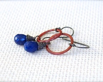 Oxidized Sterling Silver Hoop Dangle Earrings with Copper and Wire Wrapped Lapis Lazuli Gemstones - Nile // F151