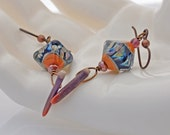 Raku Lampwork and Sea Urchin drop earrings - Peacock Raku - Coral and Violet