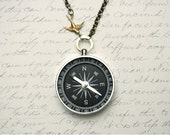 Never Lost Compass Necklace, Working Compass Necklace Compass With Bird,  Jewelry Steampunk, Sparrow Charm Necklace