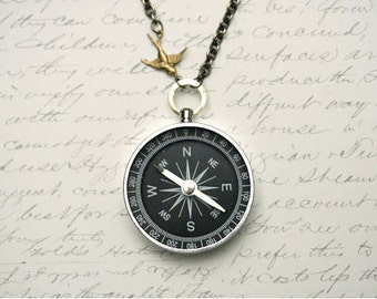 Never Lost Compass Necklace, Working Compass Necklace, Jewelry Steampunk, Sparrow Charm Necklace