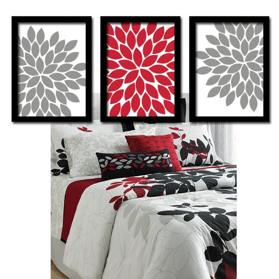 Red gray wall art bedroom wall art canvas or prints by for Gray bathroom wall decor