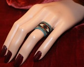 Adjustable Navajo Native Indian Tribal Boho Chic / Hippie Chic Gorgeous Tiniest Micro Seed Bead Band Ring in... your size or Adjustable