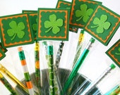 St Patrick's Day Party Favors - Personalized Shamrock Pencil Treat Bags - Green Glitter Shamrock Favors - St Patricks Day School Treats