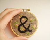 Typographic embroidery, ampersand (&) with peach flowers, wall art, modern on rustic fabric