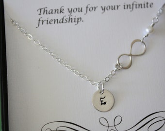 Personalized Infinity Bridesmaid Gift, Infinity Necklace, Infinite Gift, Thank You Card, White Pearl, Sterling Silver Necklace