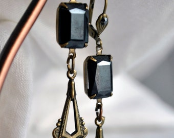 Long earrings, Art Deco, hematite, antique gold, one-of-a-kind, gunmetal grey facet cut stones, leverback earwires