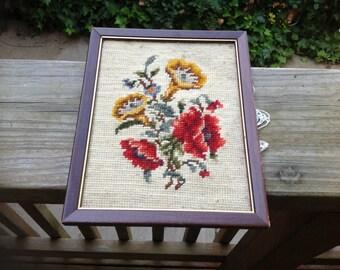 VIntage 1970's Era Framed Needlepoint Flowers Picure