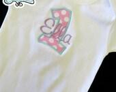 Polka Dot bodysuit onesie- Initial Number Applique Custom design- Hot Pink , Aqua, Lavender for girl