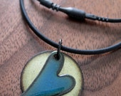 Heart Jewelry Necklace, Love Your Mother, Heart Pendant, Enamel Heart Jewelry, Blue and Green Copper Enamel Gift for Her