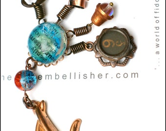 Copper Hand Vessel Necklace - Antique French Typewriter Key Skeleton Key Rainbow Bell Text in Blue Bubble
