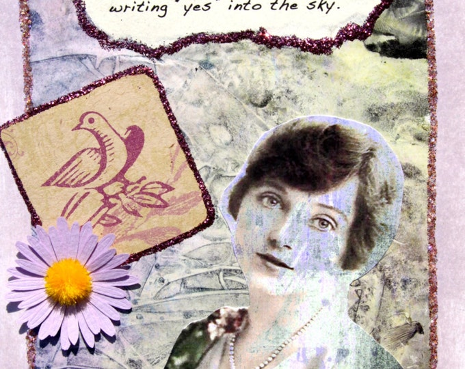 Handmade Altered Art Greeting Card with Verse, Size 5x7,  Blank Inside, Decided to Free Herself