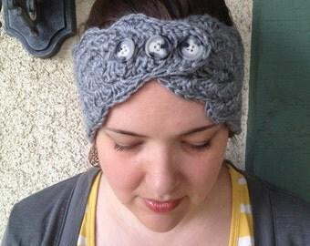 Crochet PATTERN Elsa Headwarmer 3 button reversible headband/ ear warmer (adult size)
