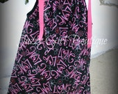 Girls Valentine Pillowcase Dress Black with Pink Love all over it.  Sizes 6mo - 5T.  Sizes 6-8 Available for an Additional Charge.