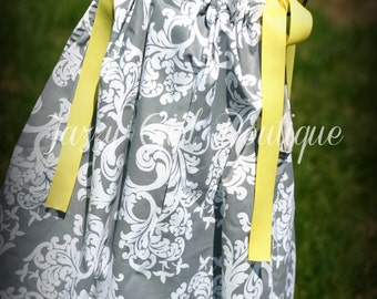Girls Pillowcase Dress Girls Dress in the Grey Elegance Fabric with yellow Ribbon Ties