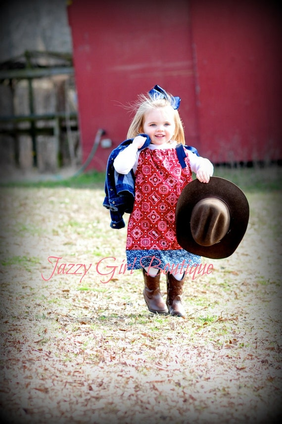 Girls Cowgirl Pillowcase Dress Red Bandana with Blue Bandana Trim and Blue Grosgrain Ribbon Ties