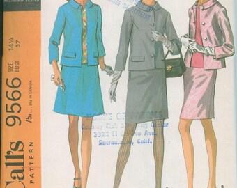 1968 McCalls 9566 Retro Mod Skirt Suit Sewing Pattern Vintage Szie 14.5 CUTE Uncut