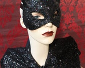 Midnight Kitty - Iridescent Black Sequined Kitty Mask with Silk Lace Detail.- To Order