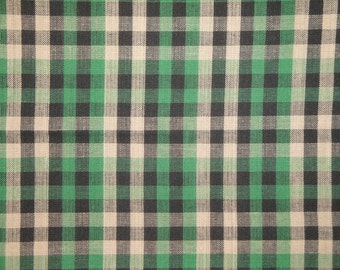 Cotton Homespun Material Green, Black And Tan Large Check  44 x 44