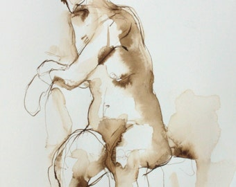 Female Nude Figure Drawing, Dessin de Nu, Original Ink Drawing, Pen and Ink Art, Works on Paper, Chair Seated Twist- Cameron