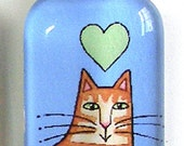 Glass Cat Pendant SALE... Orange Ginger Tabby Wearable Art Jewelry, Blue Background