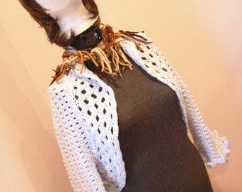 Crop Ruffle Sweater Shrug Bolero With Matching Cap Hat Powder Blue SZ Small
