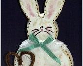 Hattie Hippity-Hop Handmade Country Bunny Woodcraft Decoration