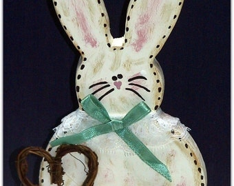 Hattie Hippity-Hop Handmade Country Bunny Woodcraft Decoration