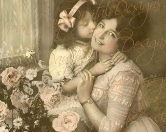A Kiss for Mother - French Postcard Instant Digtial Download - Mother's Day, Photo Scan  FrA156