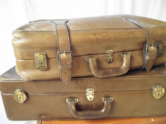 Vintage All Leather Suitcase - Large Size - Like the Robert Redford of Suitcases