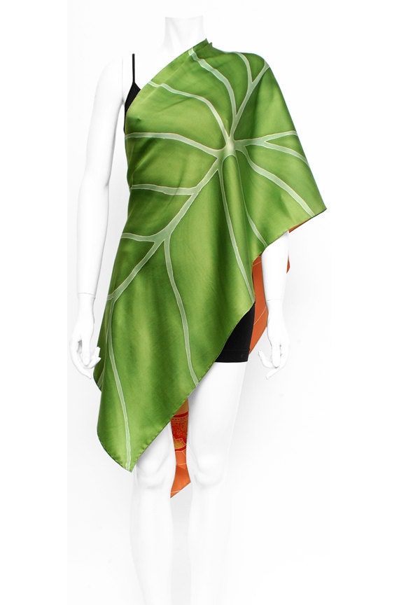 Dolphin scarf, Leaf scarf, Batik scarf,  hand painted silk scarf,  Orange scarf, green scarf, nature, Cool gifts for women, Luxury gifts