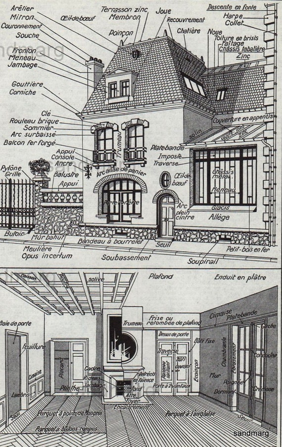 Vintage french chart house diagram architectural features for Architecture dessin interieur
