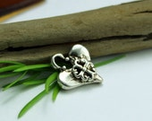 Maltese Heart Charm in Sterling Silver
