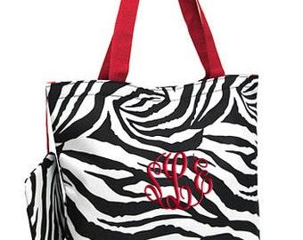 Personalized Tote Bag Zebra Red Monogrammed Wedding Dance Cheer