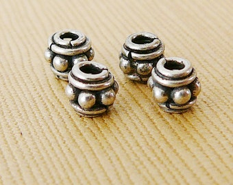 Sterling Silver Bead, Spacer Bali 6mm oxidized