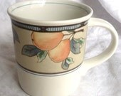 4 Mikasa Garden Harvest Mugs - Fruit Orchard Pattern Autumn - 11 oz - Set of Four - Cream Pears Peach Berries Blue Beige Multi- Thanksgiving